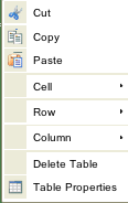 Table Right Mouse Click menu